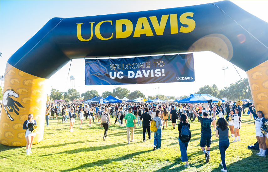 UC Davis students celebrating at the Fall Welcome event